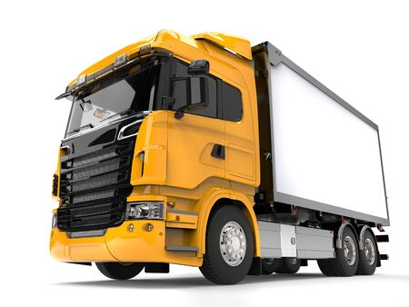 Yellow modern heavy transport truck - low angle shot