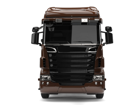 heavy industry: Modern dark brown heavy transport truck without a trailer - front view Stock Photo