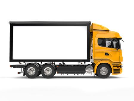 heavy industry: Yellow modern heavy transport truck - side view