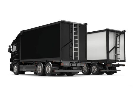 heavy industry: Black and white modern heavy transport trucks - tail view
