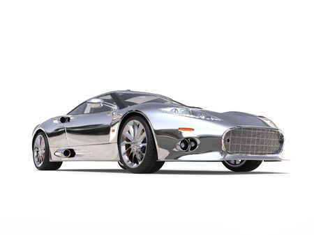 Shiny silver awesome super sports car - low angle shot