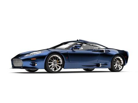 Modern metallic deep blue super sports car - studio shot