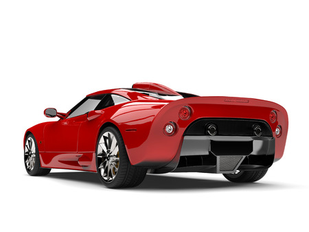 Super sports car, red paint - tail view Stock Photo