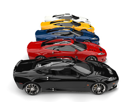 Stunning super sports cars in all gamut of colors - side view