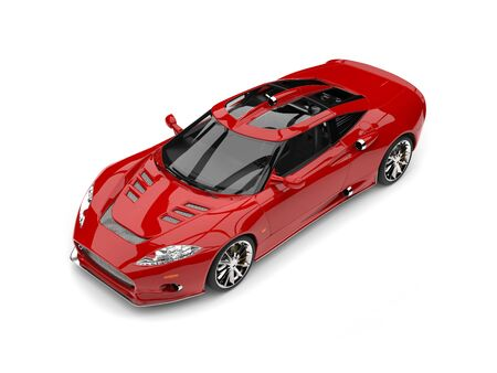 Super sports car, red paint - studio shot - top view