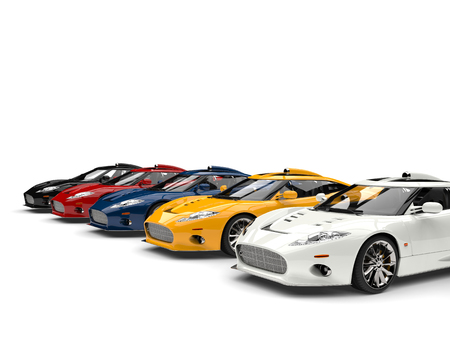 Modern super sports cars in all primary colors