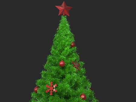 Christmas tree top with red decorations