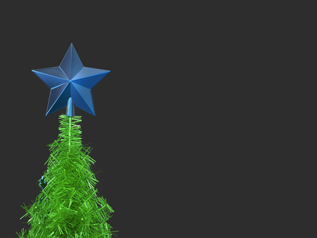 Christmas tree top - blue star decoration Stock Photo