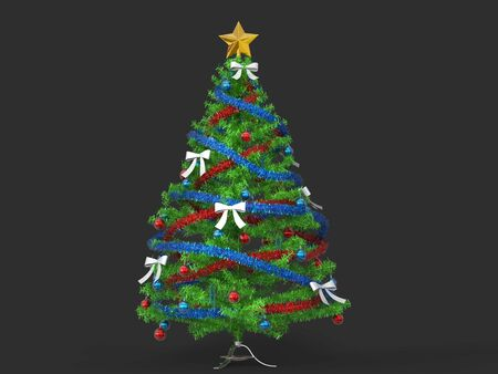 Beautiful traditional Christmas tree with beautiful decorations