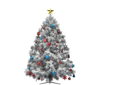 White Christmas tree with colorful decorations
