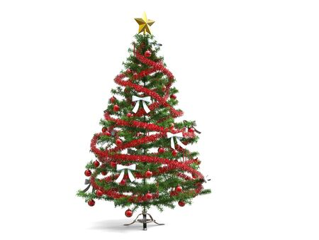 Christmas tree with shiny red tinsels and white ribbons