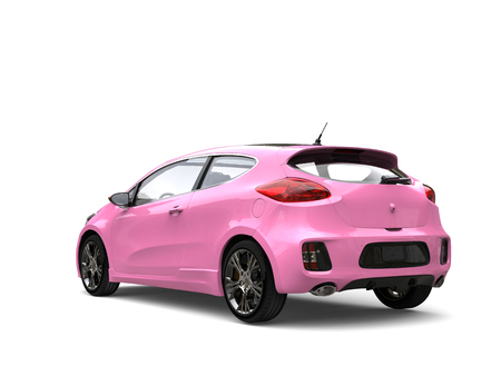 rim: Candy pink modern compact electric car - back view Stock Photo