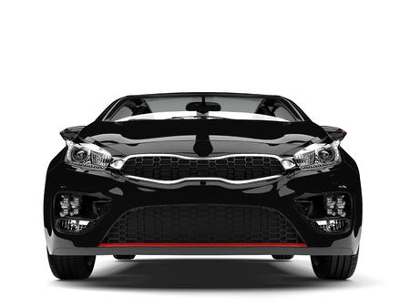 rim: Beautiful shiny midnight black modern electric car - front view
