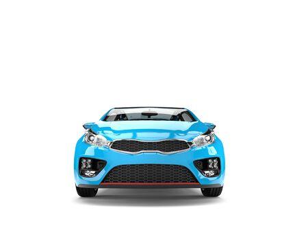 rim: Beautiful sky blue modern electric car - front view Stock Photo
