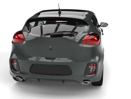 rim: Dark gray modern e-car - tail view closeup shot Stock Photo