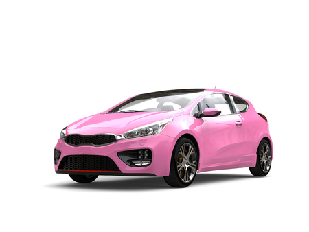 rim: Candy pink modern compact electric car Stock Photo