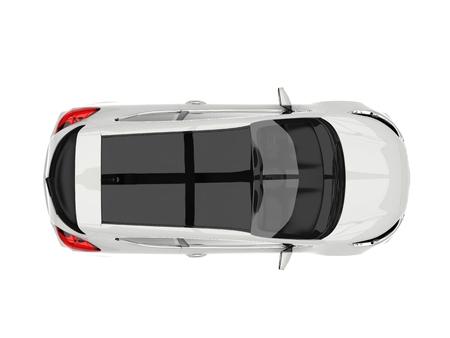 Sublieme witte moderne elektrische auto - top down view