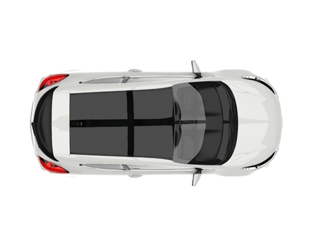 Sublime white modern electric car - top down view