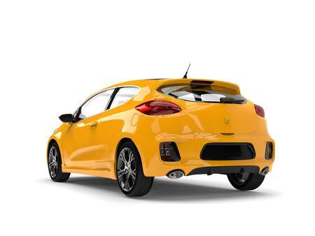 Bright sun yellow modern electric car Stock Photo