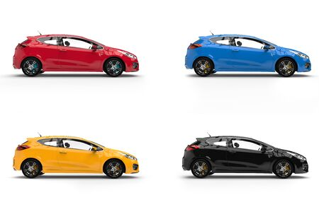 rim: Modern electric cars in red, blue, yellow and black