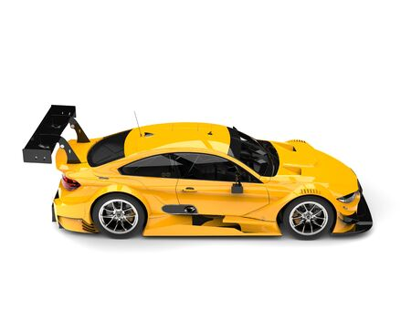 American yellow modern super car - side view