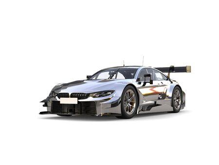Stunning modern silver super race car Stock Photo