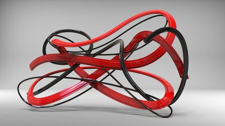 Sublime black and red abstract ribbons and swirls