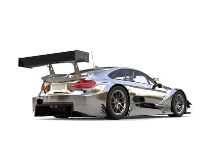 Amazing modern metallic super race car - rear wing view