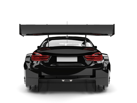 Shiny midnight black modern super race car - back view