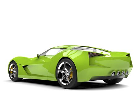 Mad green super sports concept car - rear view