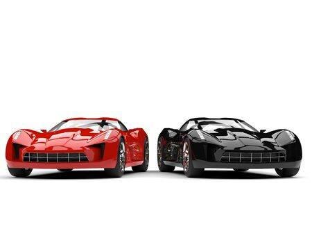 Raging red and midnight black super sports cars - side by side