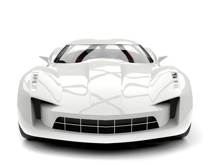 Sublime white super sports concept car - front view closeup shot