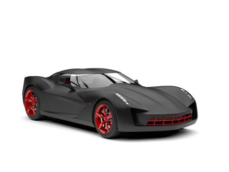 Matte black super sports concept car with red rims and details - beauty shot