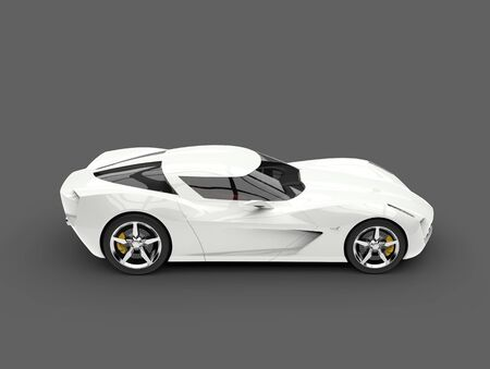 Stunning white concept sports car - side view Stock Photo