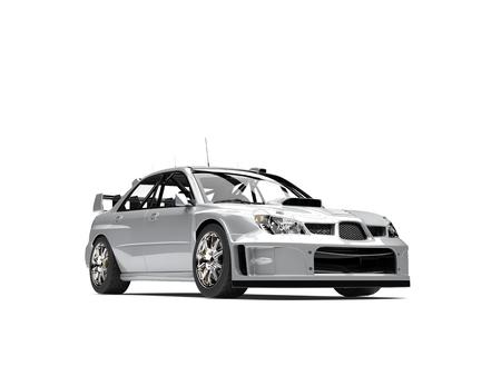 Modern silver metallic touring race car Stock Photo