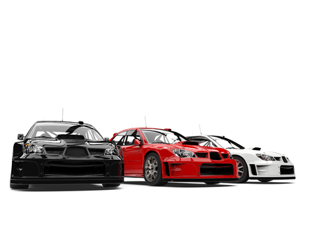 Amazing GT race cars in red, white and black