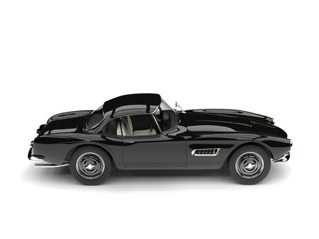 Midnight black vintage race car - side view