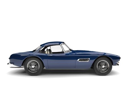 Deep ocean blue vintage race car - side view Banque d'images