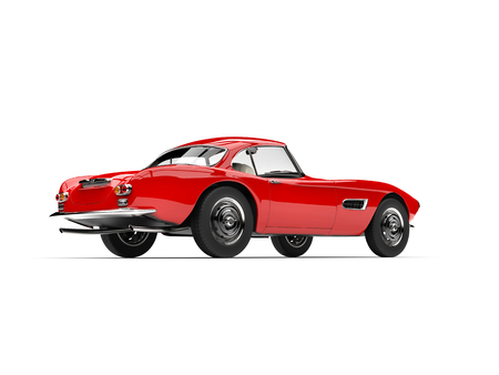 Fire red vintage sports car - rear view