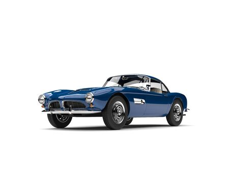 Royal blue vintage sports car - beauty shot