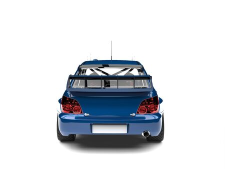 Dark imperial blue modern touring race car - back view