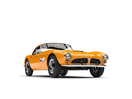 Bright yellow vintage sports car Stock Photo