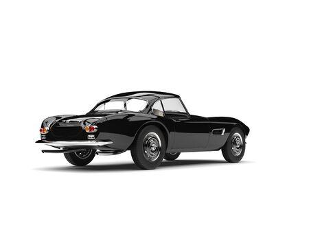 Midnight black vintage race car - rear view