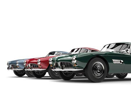 Stunning vintage sports cars - closeup cut shot