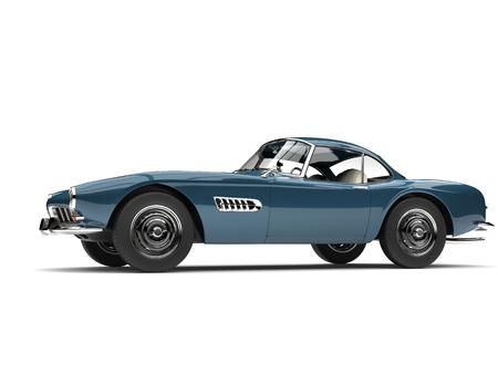Dark cornflower blue vintage sports car - side view