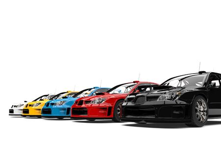 Beautiful modern touring race cars in a line