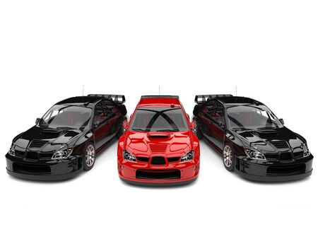 Raging red GT race car in between black race cars