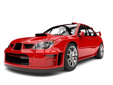 Cardinal red modern touring car - headlight closeup shot Stock Photo