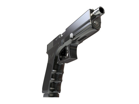 Semi - automatic modern tactical handgun - black chrome - low angle shot