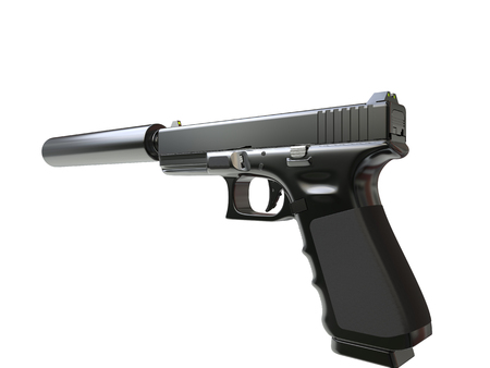 Semi - automatic modern tactical handgun with silencer - hand grip view
